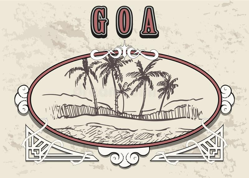 Hand gezogenes Palm Beach im alten Rahmen der Weinlese Goa-Skizzen-Vektorillustration lizenzfreie abbildung