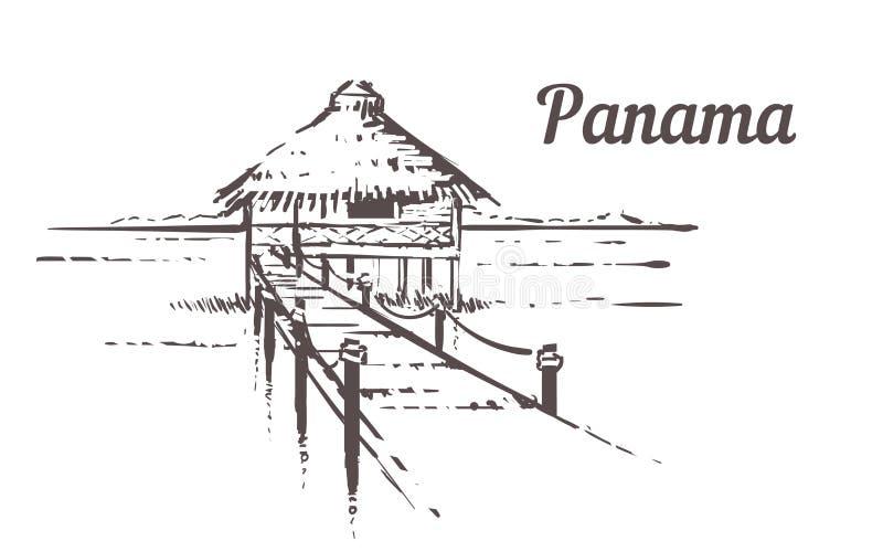 Hand gezogenes Palm Beach Panama-Erholungsort mit Strandhaus, Skizzenvektorillustration stock abbildung