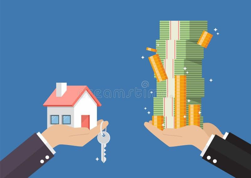 Hand gibt nach Hause und Schlüssel zu anderer Hand mit Geldbargeld lizenzfreie abbildung