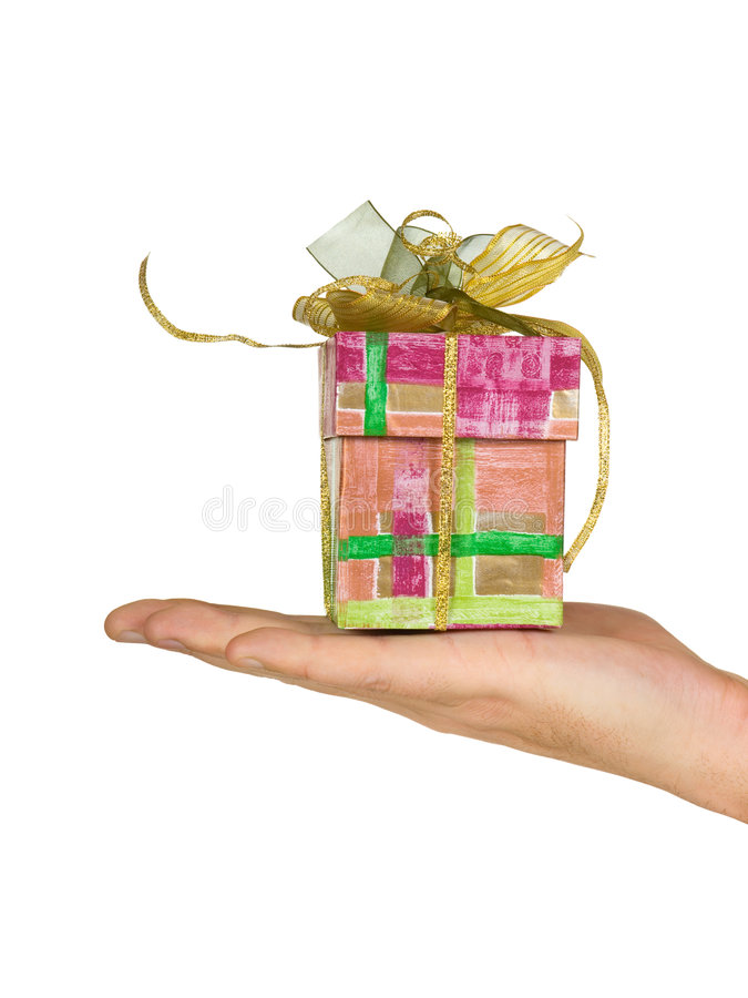 Hand and gift royalty free stock photography