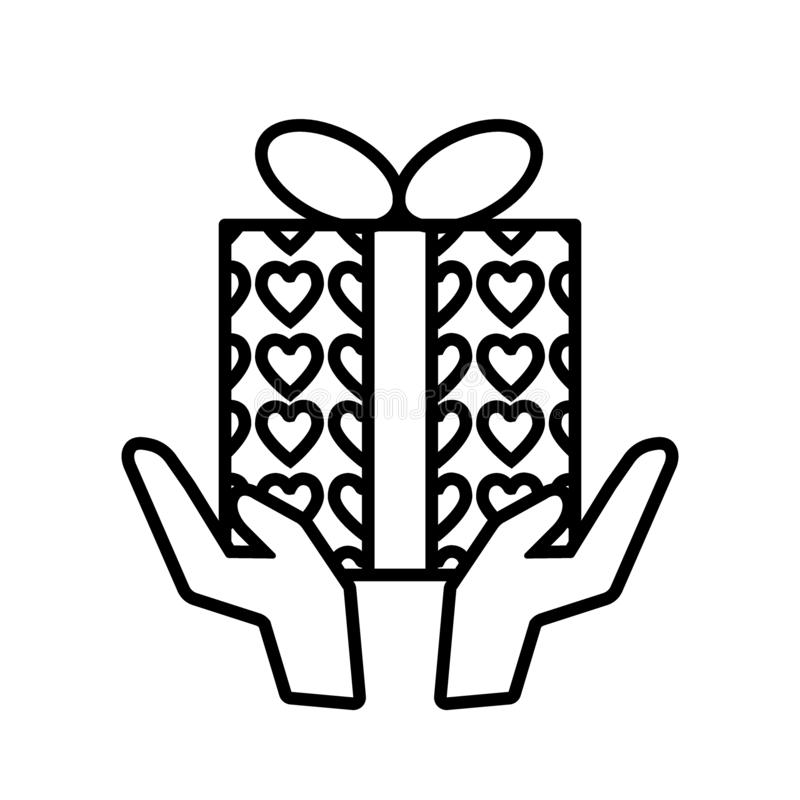 Hand with gift line icon. Hands holding present with hearts wrap vector illustration isolated on white. Package outline stock illustration
