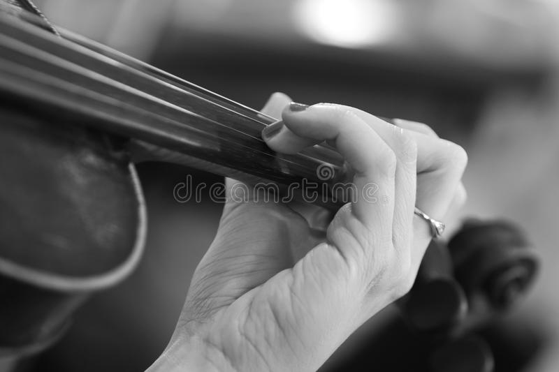Hand of a girl on violin strings royalty free stock photos