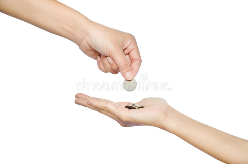 Hand give money. On white background stock photos