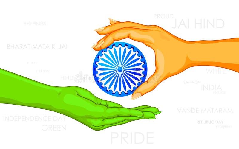 Download Hand giving Ashok Chakara stock vector. Illustration of india - 25650081