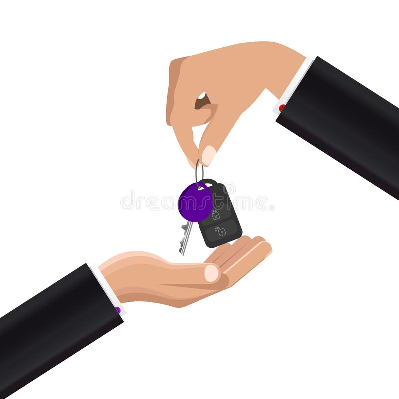Hand giving car keys. Concept of buying or renting car. Vector. Illustration vector illustration