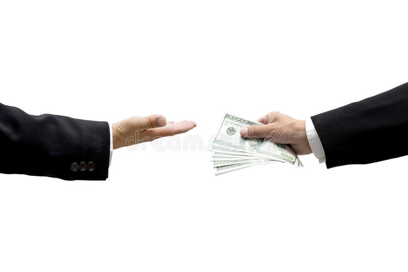 Hand giving cash to other one stock photography
