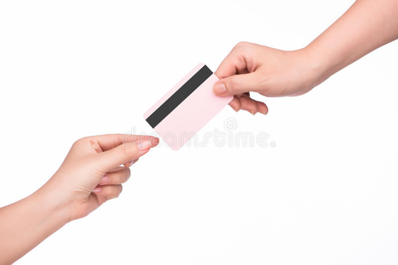 Hand giving credit card stock images