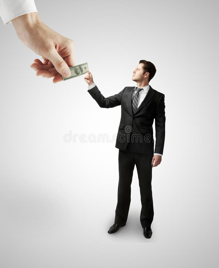 Hand giving dollars royalty free stock photography