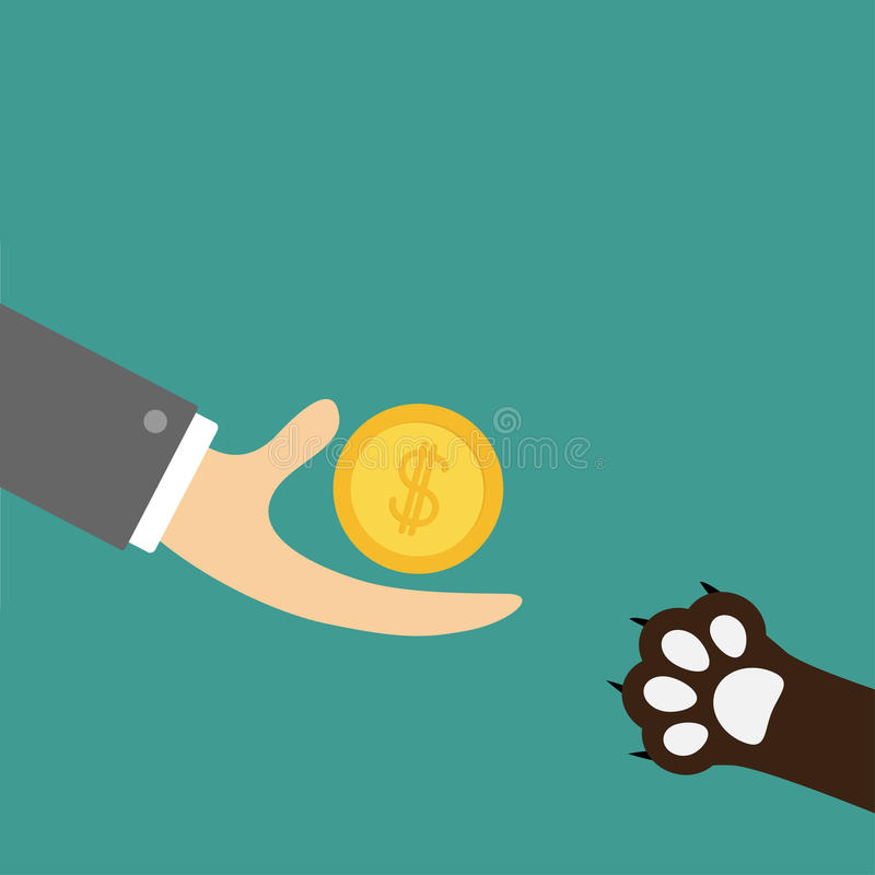 Hand giving golden coin money with dollar sign. Dog cat paw print taking gift. Helping hand concept. Adopt, donate, help, love pet stock illustration