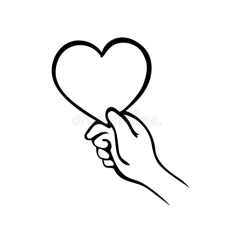 Hand giving heart symbol on white, give love royalty free illustration