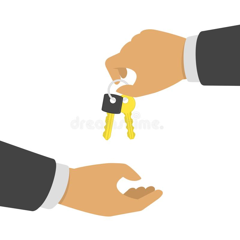 Hand giving key. stock illustration