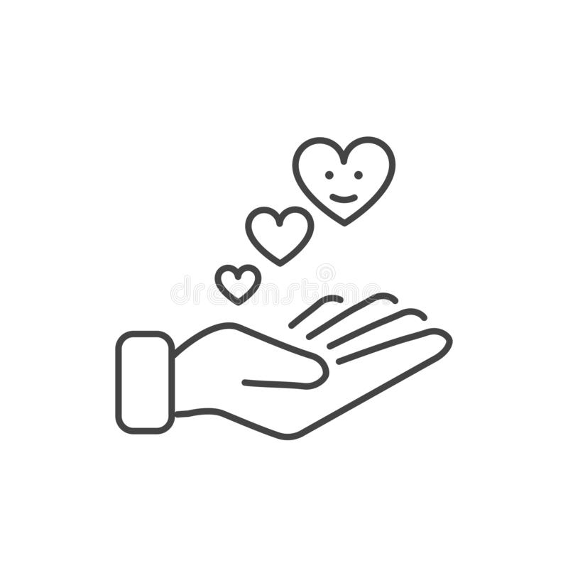 Hand giving love icon isolated. Modern outline in trendy style on white background stock illustration