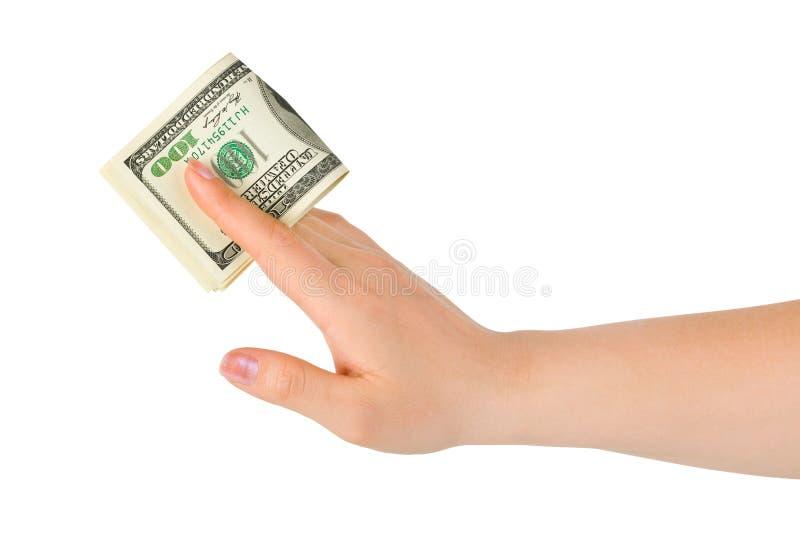 Hand giving money. Isolated on white background stock image