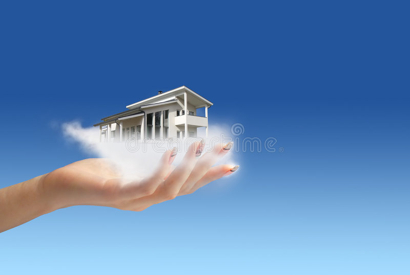 Hand giving new house. New house owner concept. Hand giving new house. House in clouds royalty free stock images