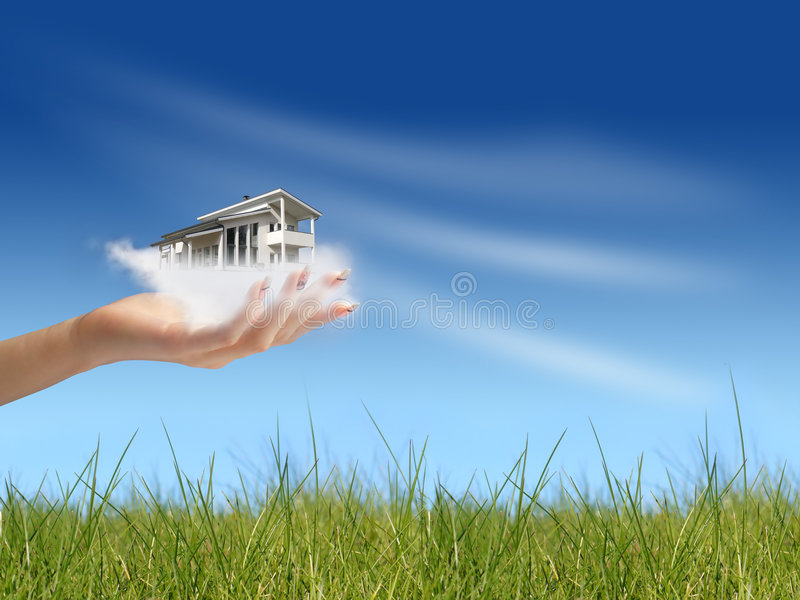 Hand giving new house. New house owner concept. Hand giving new house. House in clouds stock photography