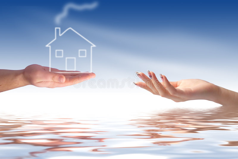 Hand giving new house. New house owner concept. Hand giving new house stock photo