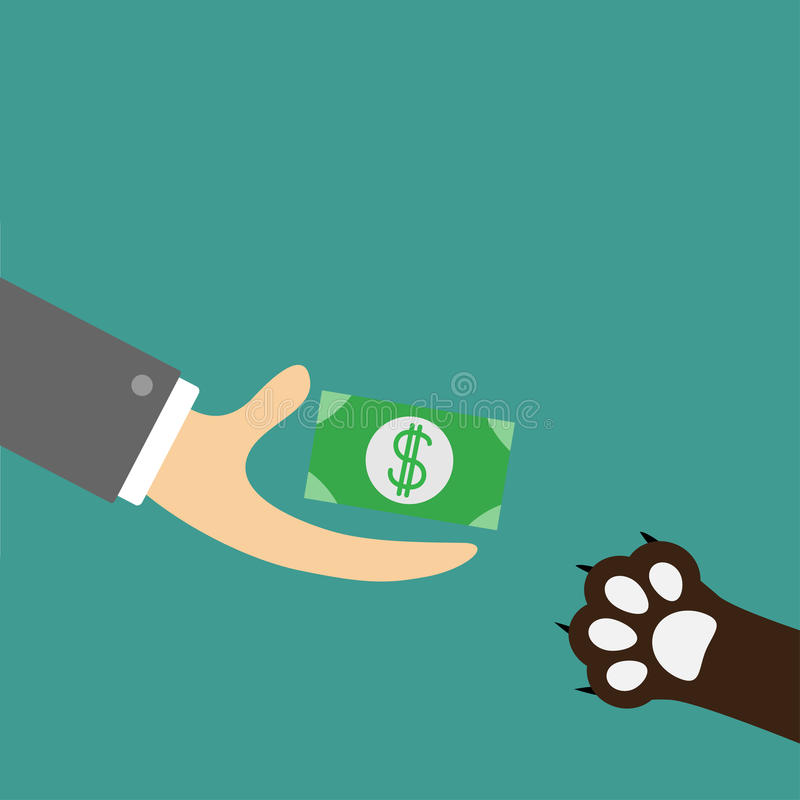 Hand giving paper money cash with dollar sign. Dog cat paw print taking gift. Helping hand concept. Adopt, donate, help, love pet royalty free illustration