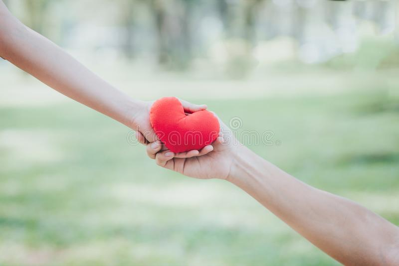 Hand giving red heart to other hand. Woman hand giving red heart to other hand on green background royalty free stock images