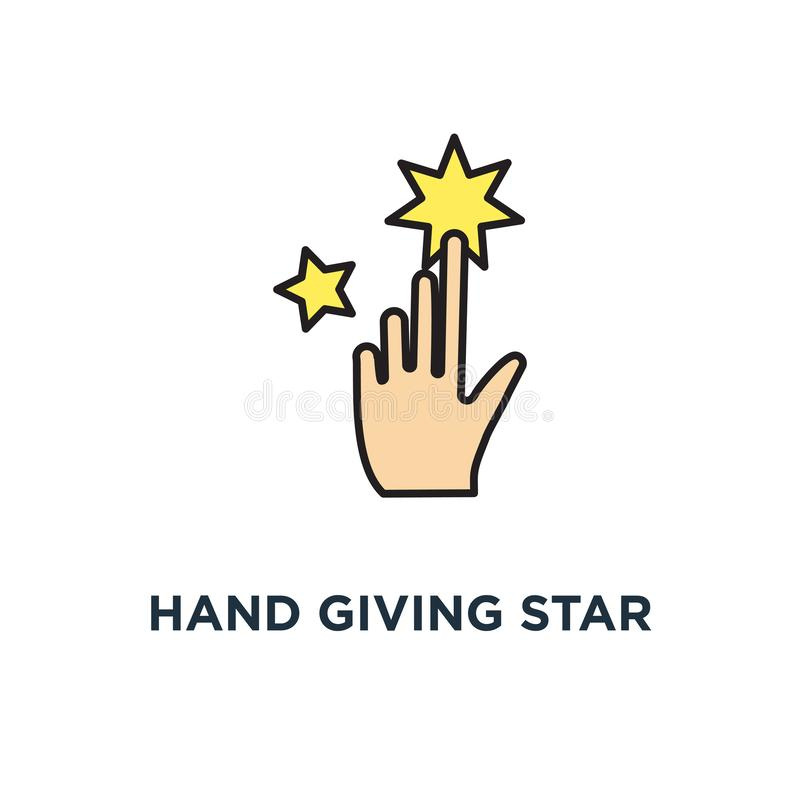 hand giving star rating, feedback icon. consumer or customer rating concept symbol design, review, evaluation, satisfaction level vector illustration