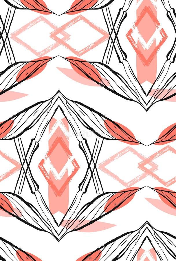 Hand - gjord abstrakt grafisk sömlös modell med etniska motiv för blomma som isoleras på vit bakgrund Design för att gifta sig royaltyfri illustrationer