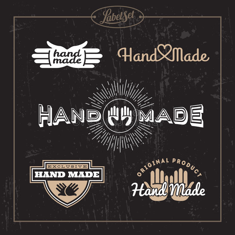 Hand - gjord etikettuppsättning stock illustrationer