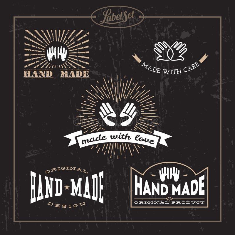 Hand - gjord etikettuppsättning royaltyfri illustrationer