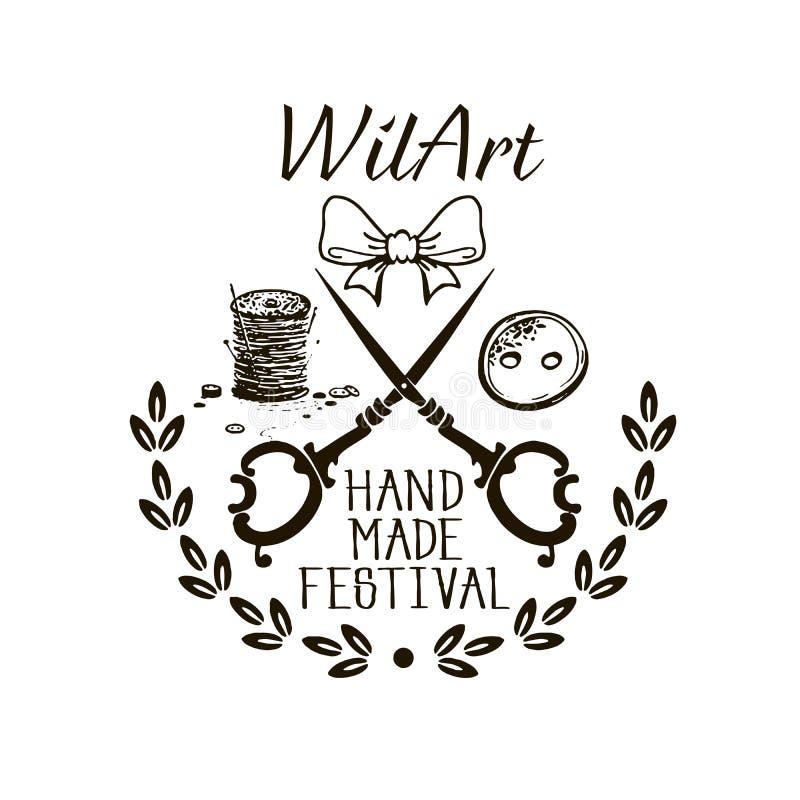 Hand - gjord festival - Logo Design vektor illustrationer