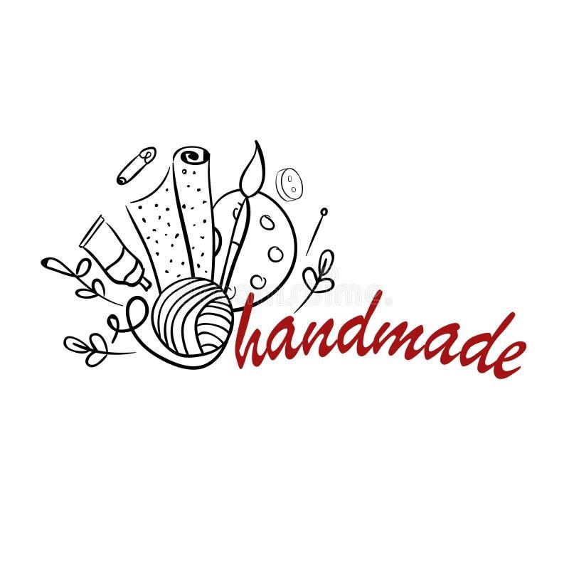 Hand - gjord hjälpmedellogo vektor illustrationer