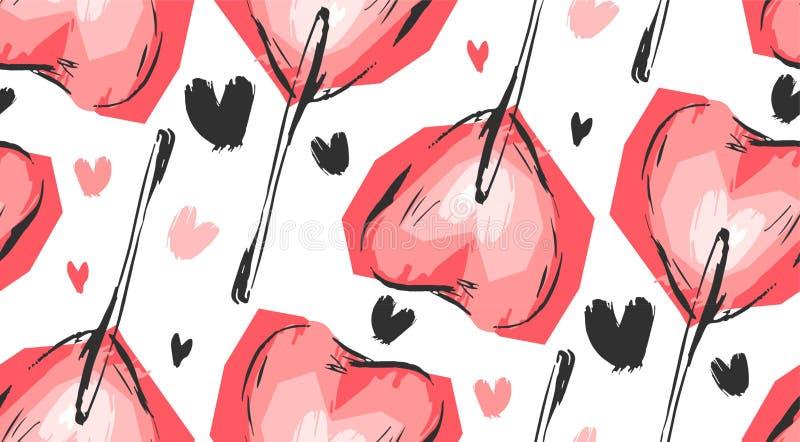 Hand - gjord modell för dag för valentin för vektordiagram sömlös med röda hjärtaklubbor på en vit bakgrund Design för stock illustrationer