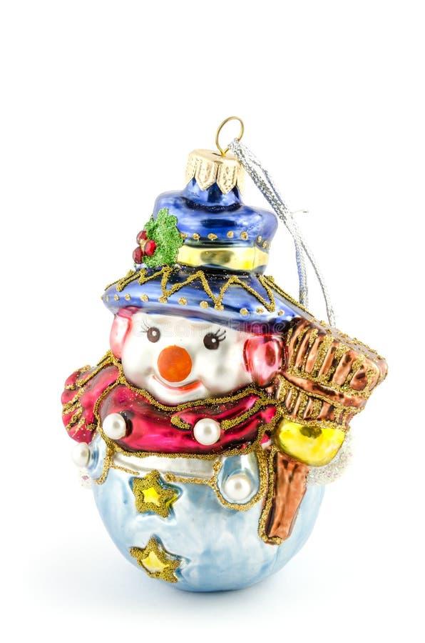 Hand-gjord snögubbe för julgran som garnering isoleras på vit arkivfoto