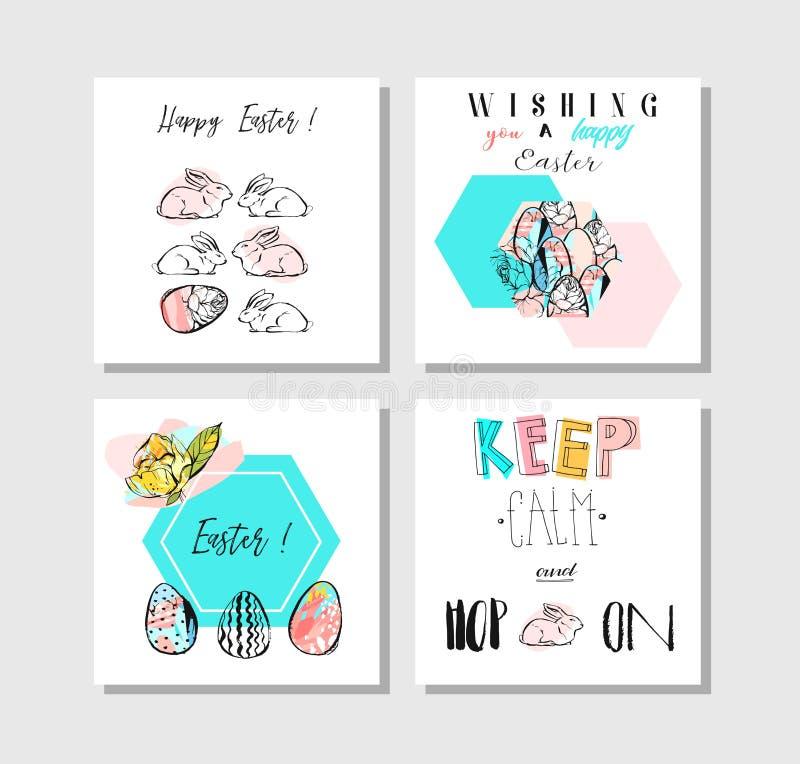 Hand - gjord uppsättning för samling för mall för kort för hälsningar för påsk för vektorcollageabstrakt begrepp med teckningsgar royaltyfri illustrationer