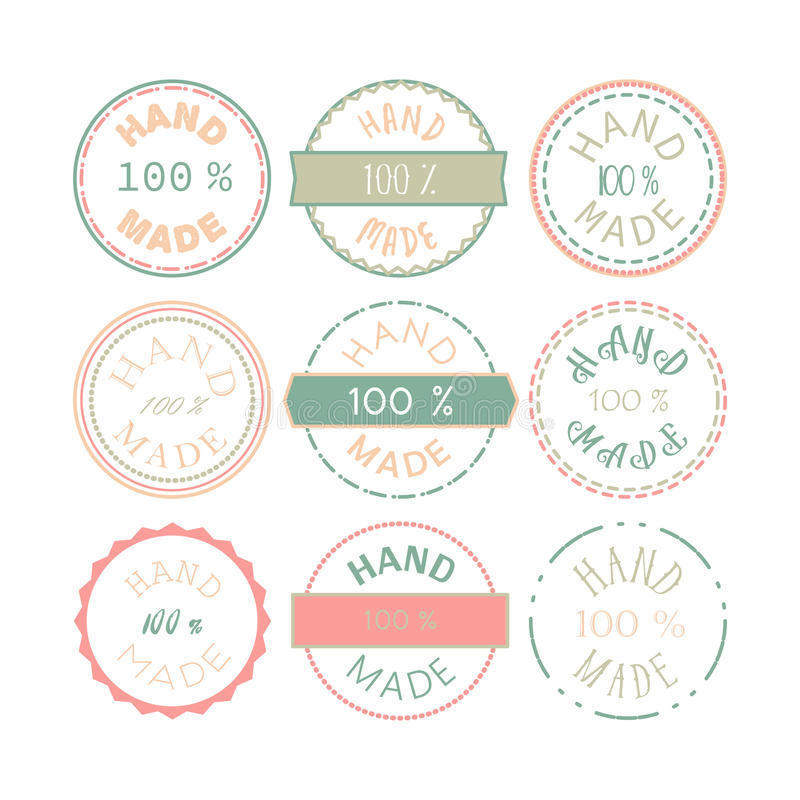 Hand - gjort emblem stock illustrationer