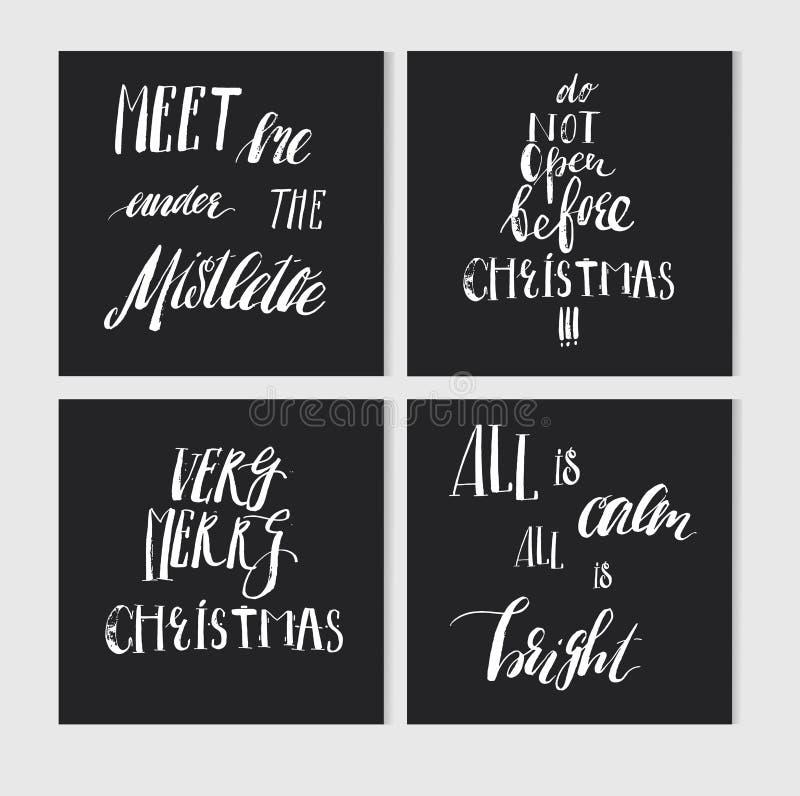 Hand - gjort vektorabstrakt begrepp för hälsningkort för glad jul uppsättning med elegant handskriven modern kalligrafi för glad  stock illustrationer