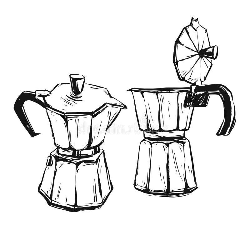 Hand - gjort vektorabstrakt begrepp grafisk illustration med geyserkaffebryggaren som isoleras på vit bakgrund Design för affisch royaltyfri illustrationer