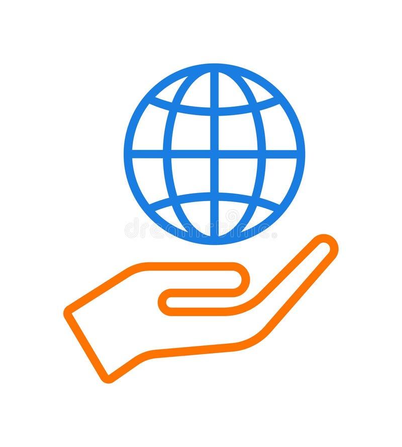 Hand giving globe icon logo stock illustration