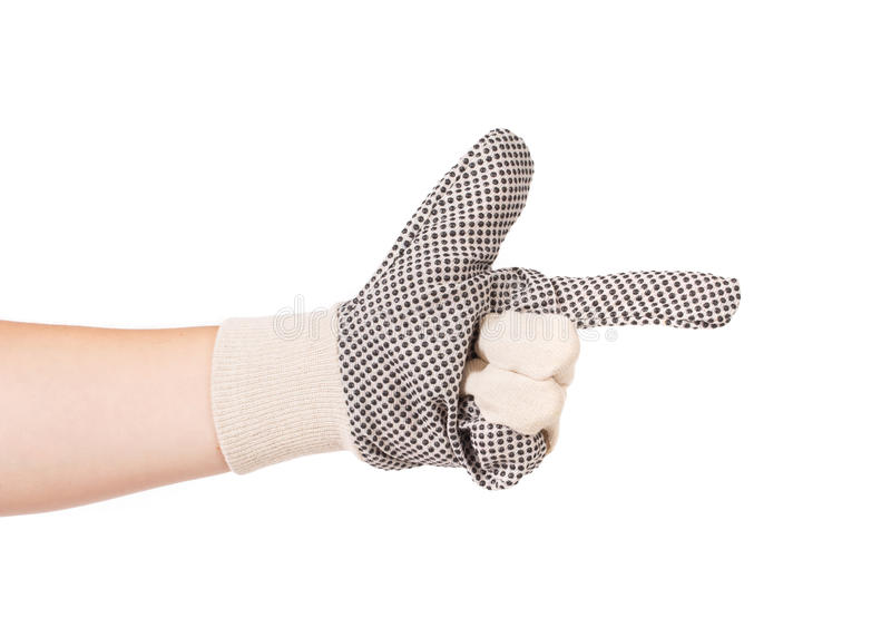 Download Hand in glove as gun. stock image. Image of finger, isolated - 43479351