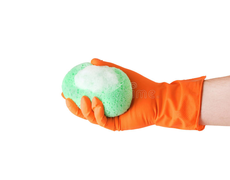 Hand In Glove With Sponge Stock Photos