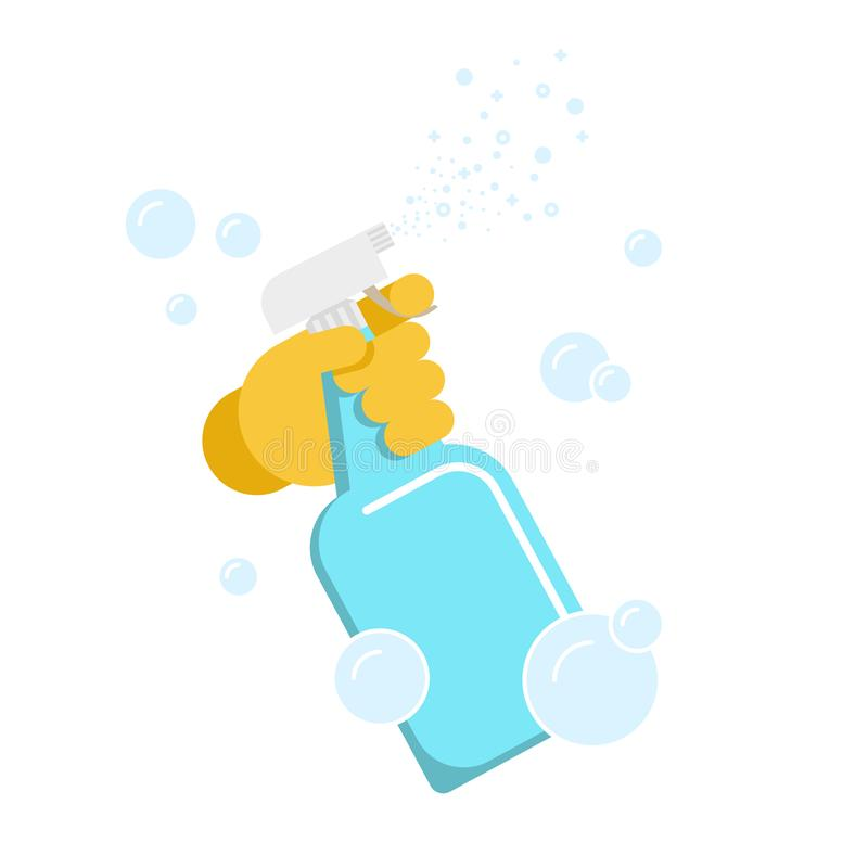 Hand in glove with the spray bottle. vector illustration