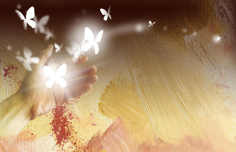 Hand with glowing butterflies stock illustration