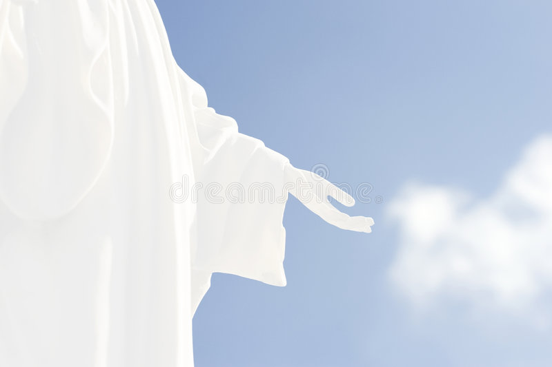 Hand of god. Background: hand of god and blue sky stock photos
