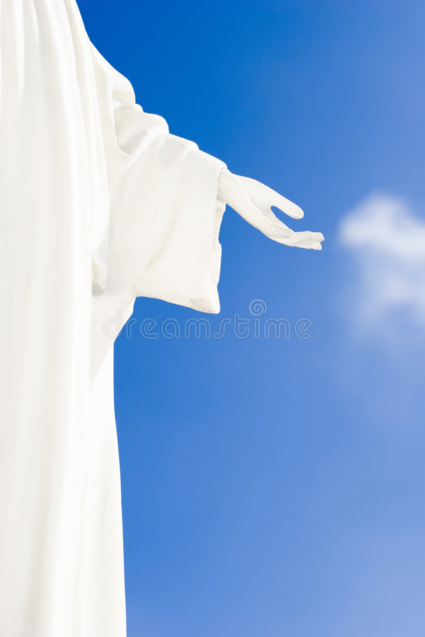 Hand of god. Background: hand of god and blue sky stock images