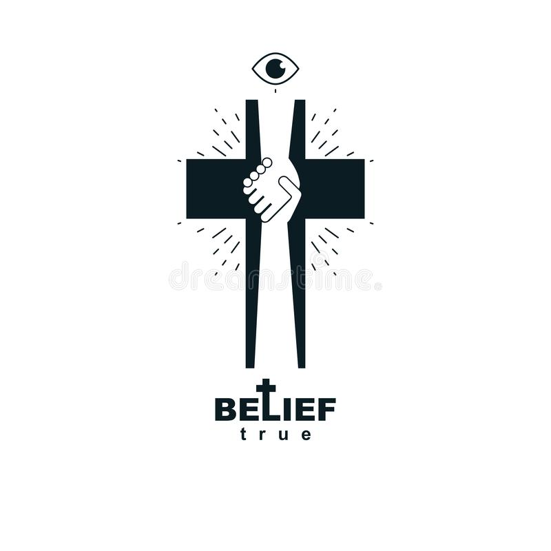 Hand of God shaking the hand of believer, helping and love of Jesus. Christian Cross vector symbol. Hand of God shaking the hand of believer, helping and love vector illustration