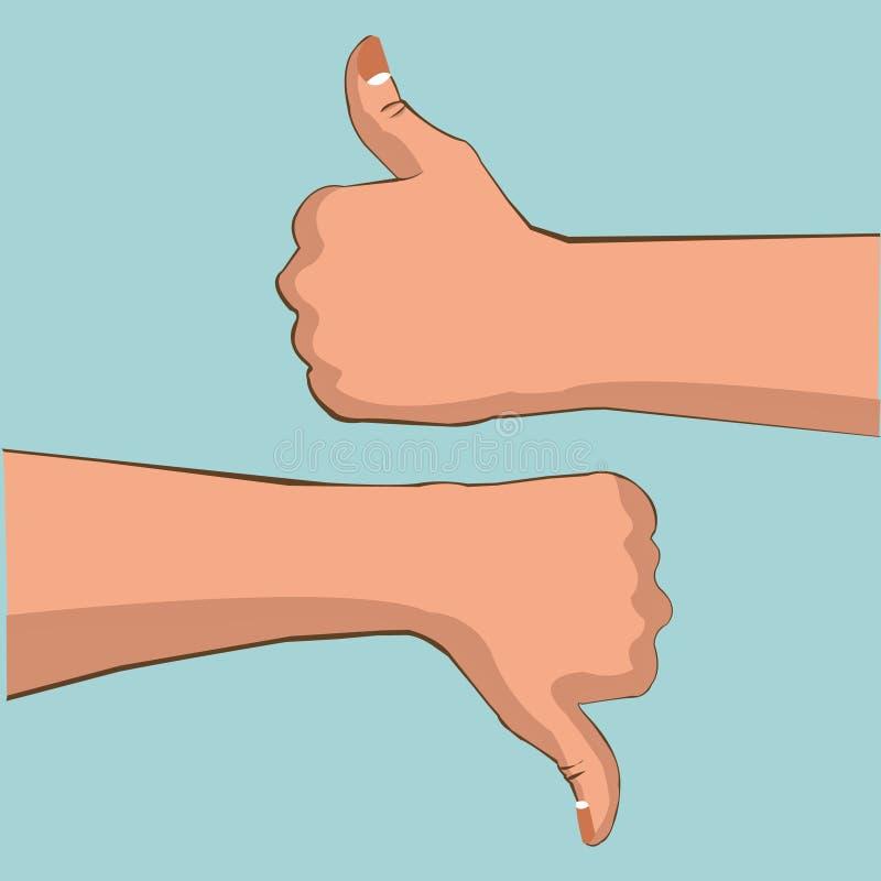 Hand goede en slechte actie vector illustratie