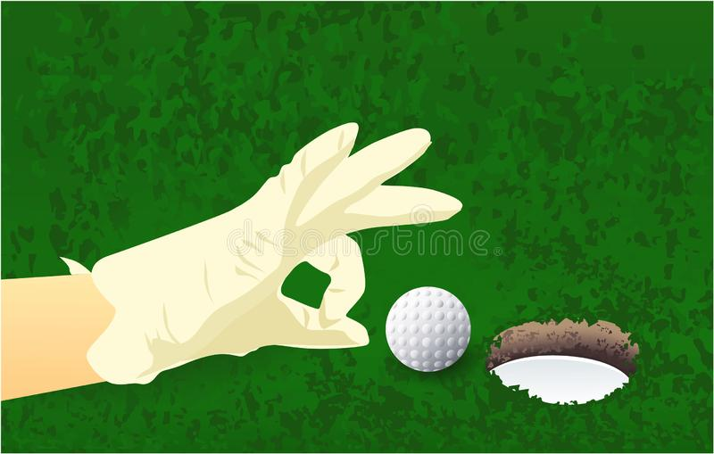 Hand, golf ball, grass hole sport game royalty free stock image