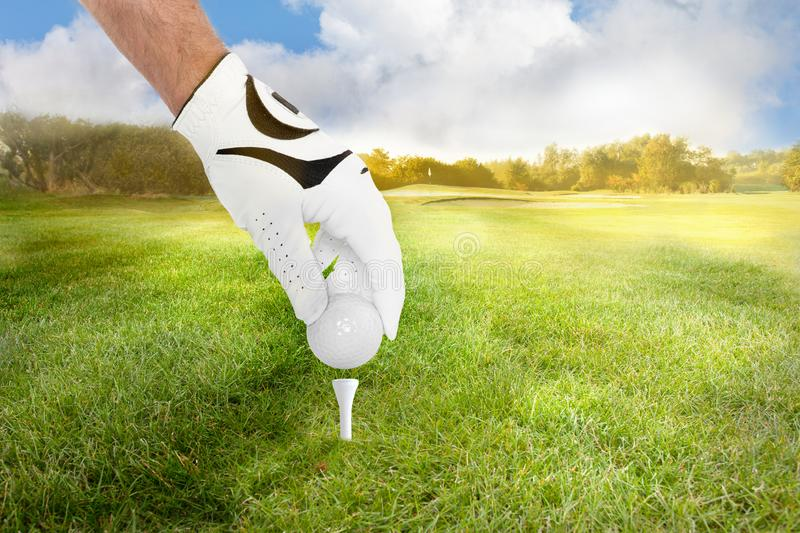 Hand of a golfer places golf ball on the tee on fairway stock photo