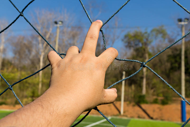 Hand grab the rope mesh. Fence royalty free stock photo