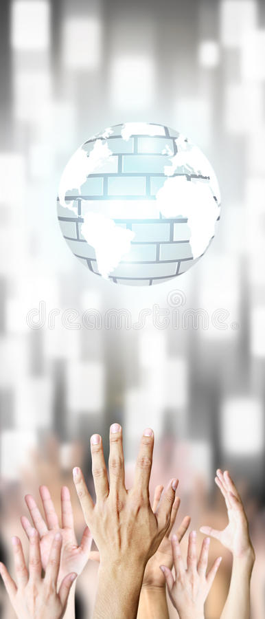 Hand Grab Virtual World Royalty Free Stock Photos