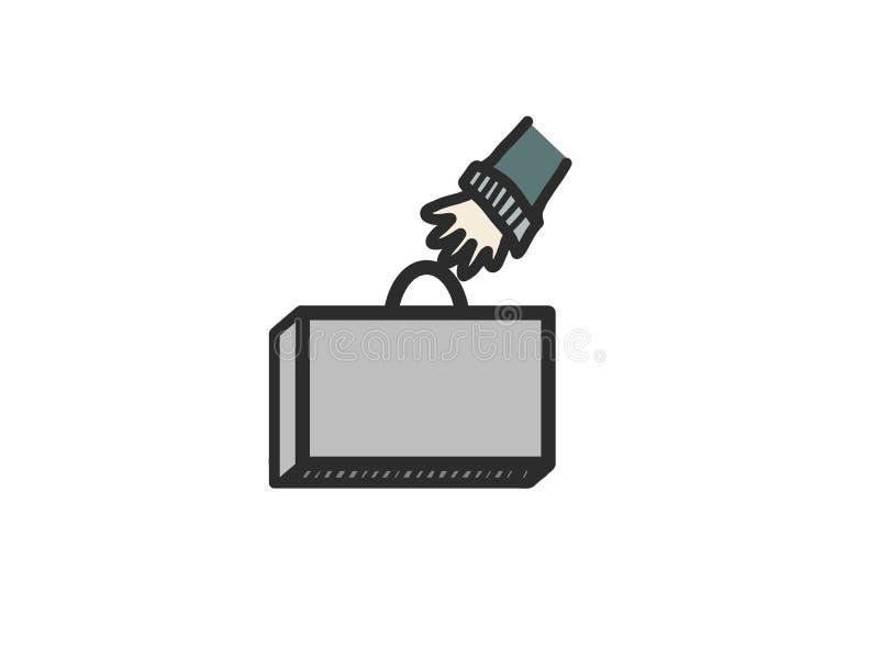 Hand, grabbing briefcase stock image