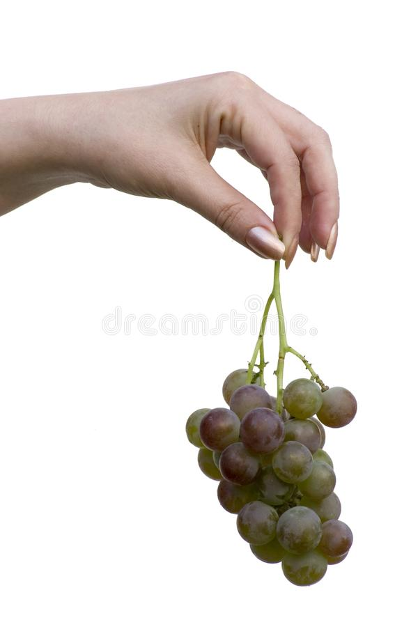 Hand with grape stock photos