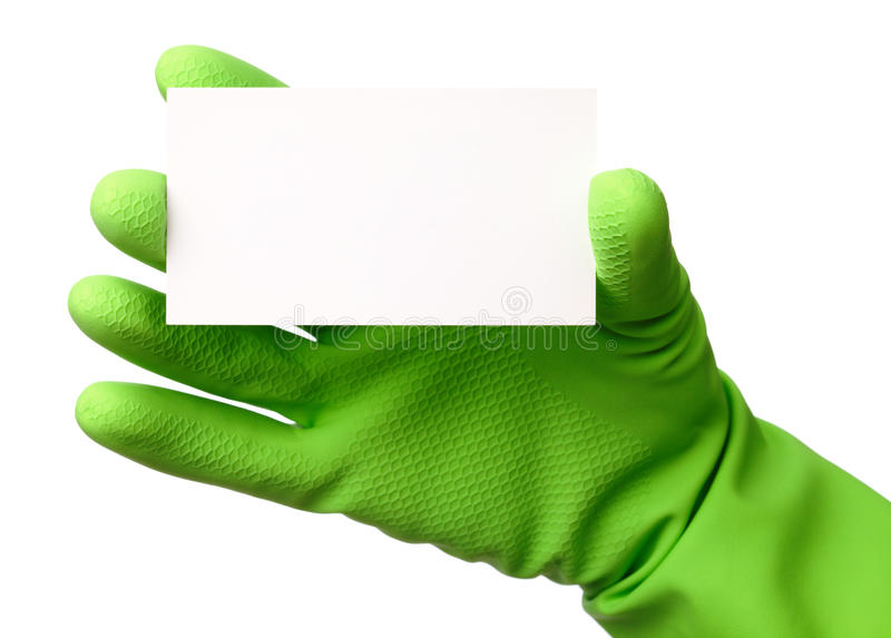 Hand in green glove showing business card stock photos